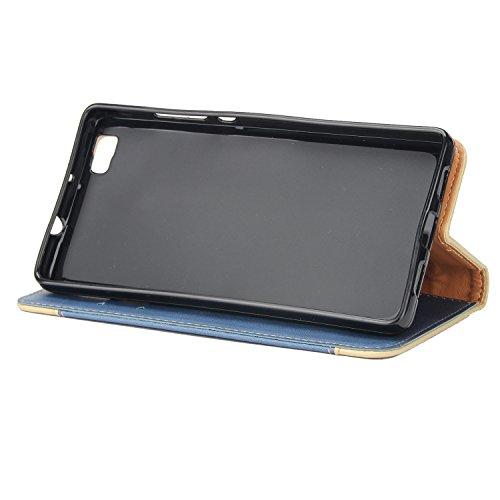 Olyee Huawei P8 Lite Hülle, Leder PU Cover Magnet Flip Hülle Schutzhülle Kartensteckplätzen und Ständer Handytasche für handyhülle Huawei P8 Lite Blue