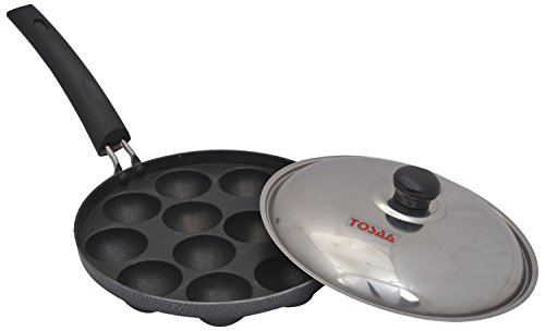 Tosaa 12-Cavity Non stick Appam Patra with Lid, 21 cm, Black