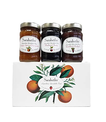 Sarabeth's Legendary Spreadable Fruit - 3 Jar Gift Pack - Orange-Apricot, Blueberry Cherry and Strawberry Rhubarb