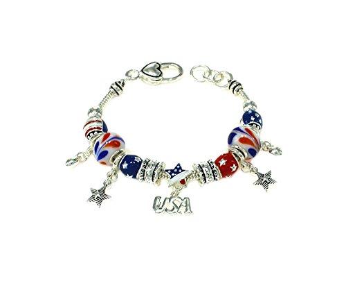 (Athena Silvertone Women's USA Patriotic Beaded Charm Bracelet w/Gift Box)
