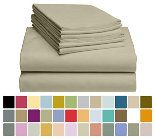 """6 PC LuxClub Sheet Set Bamboo Sheets Deep Pockets 18"""" Eco Friendly Wrinkle Free Sheets Hypoallergenic Anti-Bacteria Machine Washable Hotel Bedding Silky Soft - Sand Dunes Full"""