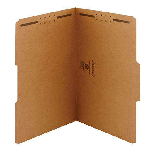 Smead 19837 11 Point Kraft Folders Two Fasteners 1/3 Cut Top Tab Legal Brown - 11 Point Top Tab