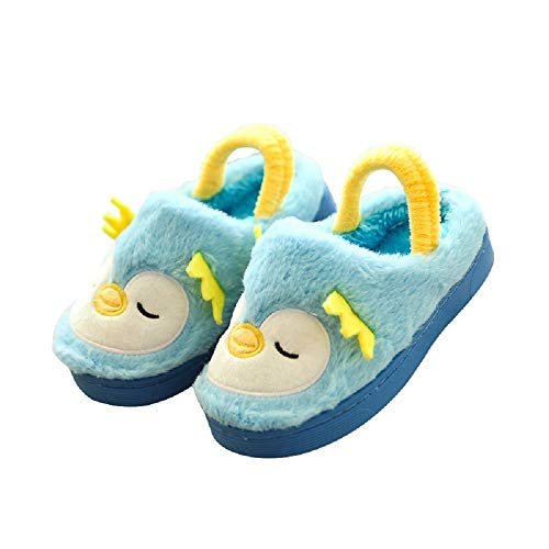 - Toddler Kids Indoor Cute Slippers for Girls Boys Plush Soft Cartoon Bedroom House with Band Blue-Penguin 7-8.5 M US Toddler