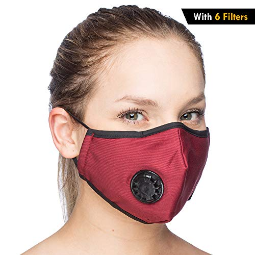 One Mask + 6 Filters) Military Grade N99 Carbon Activated Anti Dust Face Mouth Cover Mask Respirator - Dustproof Anti-bacterial Washable - Reusable Respirator Comfy - Cotton Ge (N99 Mask - Dark Red)
