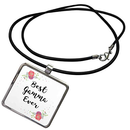 3dRose InspirationzStore - Love Series - Floral Best Gamma Ever Pretty Watercolor Pink Flowers Grandma Love - Necklace with Rectangle Pendant (ncl_312319_1)