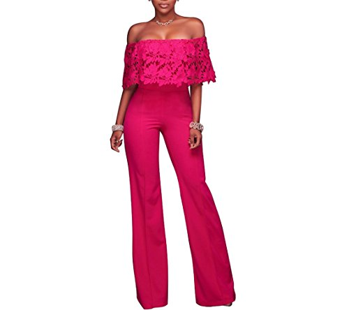 Pink Jumpsuit (Vamvie Women's Sexy Off Shoulder Lace Ruffle Long Pants Wide Leg Jumpsuits Rompers)