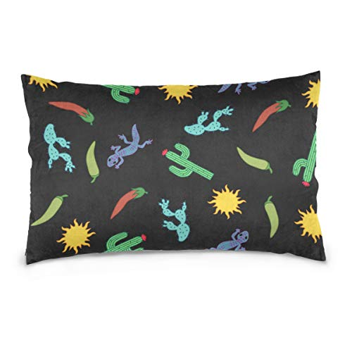 KMAND Cactus Gecko Chili Cartoon Cotton Pillowcase for sale  Delivered anywhere in Canada