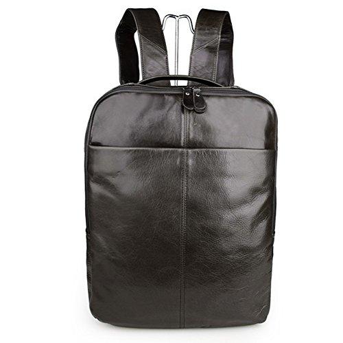 YAAGLE Erste Schicht aus Leder Laptoptasche 15 zoll echtes Leder Rucksack Schultertasche Retrotasche Henkeltasche-grau