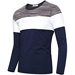 KAIUSI Men's Contrast Color Crew Neck Long Sleeve Casual T-shirt Top Large Blue