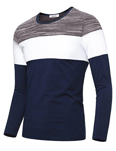 KAIUSI Men's Contrast Color Crew Neck Long Sleeve Casual T-shirt Top Large...