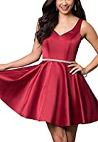 Andybridal Simple Deep V Neck Cap Sleeve Beaded Short Prom Homecoming Dresses