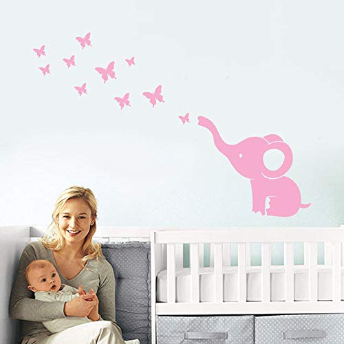 Cute Wall Stickers, Hoshell DIY Elephant Butterfly Wall Stickers Decals Children's Room Home Decoration Art for Kid's Baby Room Bed Room (Pink) ()