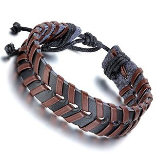 Aroncent 4PCS Handmade Vintage Wristband, Leather Rope Bracelet, Tribal Braided Cuff Bangle, Charms, Adjustable Size, Unisex