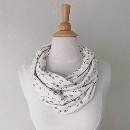 Neck Warmer Organic Cotton Circle Scarf Eyes & Eye Lashes Print Off White & Grey