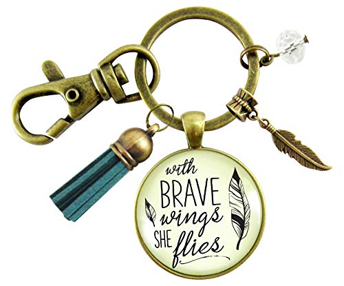 Brave Jewelry With Wings She Flies Vintage Style Key Ring Blue Tassel Keychain For Women Motivational Gift Card ()