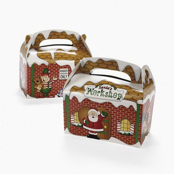 Fun Express Dozen Santa's Workshop Cardboard Treat Boxes ()