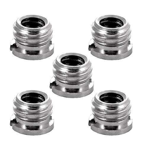 (Kamisafe 3/8 Inch Male to 1/4 Inch Female Convert Screw Adapter Adaptor Reducer Bushing Screw Compatible with DSLR Camera Camcorder Monopod Tripod Head Ball Head Video Light Stand (5 Pack))