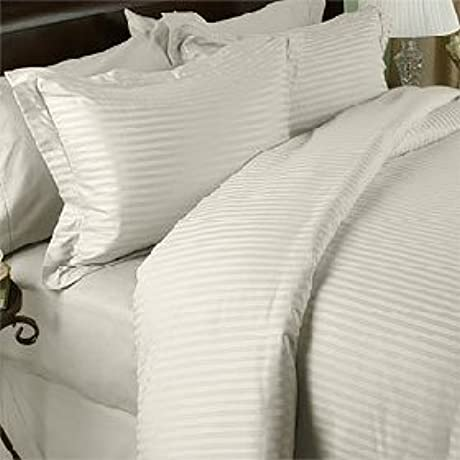 Egyptian Bedding 800 Thread Count King Siberian Goose Down Comforter 8 PC 800TC Bed In A Bag Ivory Damask Stripe 800 TC