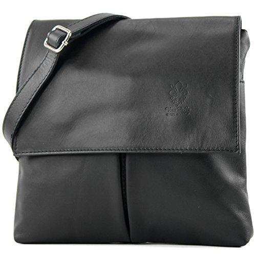 Italian bag shoulder bag messenger satchel women's bag real leather T63 Black