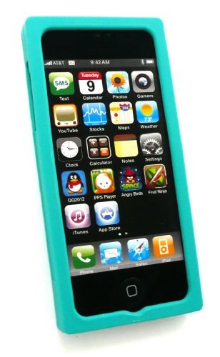Emartbuy ® Apple Iphone 5 Lcd Screen Protector Und Retro Cassette Silicon Skin Cover / Case Grün
