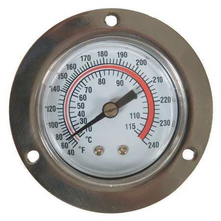240f Dial Thermometers - Analog Panel Mt Thermometer, 40 to 240F