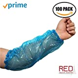 """Disposable Poly Arm Sleeves Covers - Polyethylene Protective Arm Sleeves- Painting, Tattoo, Shower, Repair - 18"""" - Pack of 100 Blue Waterproof Forearm Sleeves"""