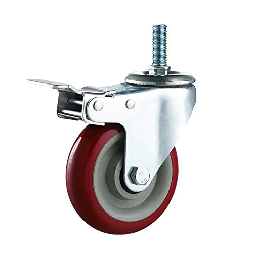 Setmas 3'' Heavy Duty Caster Wheels with Brake Lock and Rubber Base Red DCP Resources Inc.