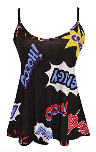Womens Ladies Plus size Printed Swing chaleco tiras sin mangas Cami acampanado Tops BOOM PRINT
