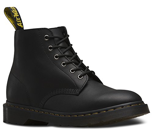 Dr. Martens Men's Ali 6-Eye Casual Boots, Black Leather, 11 M, 12 M US (Eye Boot Leather Boots)
