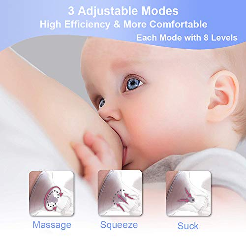 Double Electric Breast Pump -YIHUNION Portable Silicone Breastfeeding Pump for Baby Feeding Milk Rechargeable 1200mAh Battery with Adjustable Massage & Suction Level and Backflow Protector