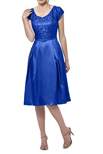 Knielang Kurzarm La Brautmutterkleider Elegant v Spitze Blau Festlichkleider Ausschnitt Royal mia Abendkleider Braut Kurzes wYYzT16qZ
