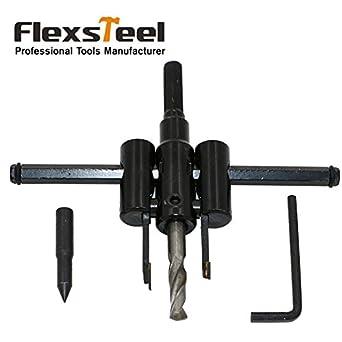 Generic New Flexsteel Adjustable Circle Cutter Drill Bit Kit Metal Wood Twist Hole Diy Woodworking Tools 30-120mm