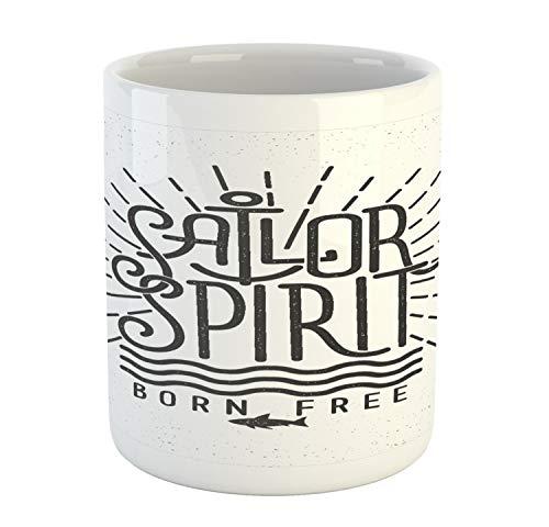Lunarable Vintage Nautical Tattoo Mug, Sailor Spirit Born Free Lettering Style Design, Ceramic Coffee Mug Cup for Water Tea Drinks, 11 oz, Dark Grey and White