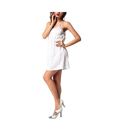 corto donna raso Camicia notte Bianca in Canotta sexy da Abito Abito elegante Oudan Abito 7Ftwxq