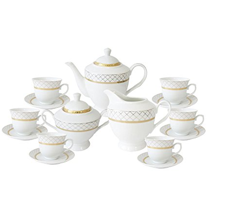 Set of 17 Gold Net Tea Milk Sugar Pot Kettle Cup Saucer Set