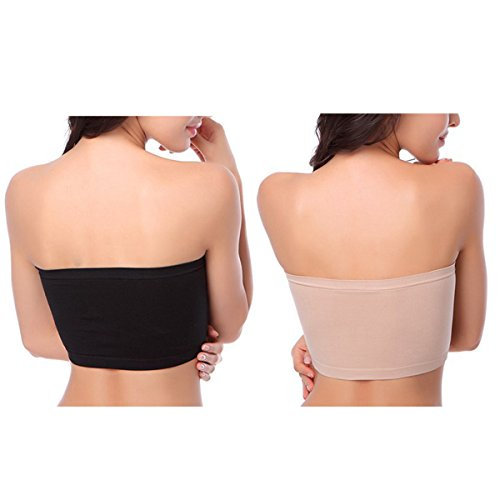 c4d1e71a658 HOVEOX Women s Plus Size Padded Bandeau Strapless Bras Stretch Seamless Tube  Top Bra by X-