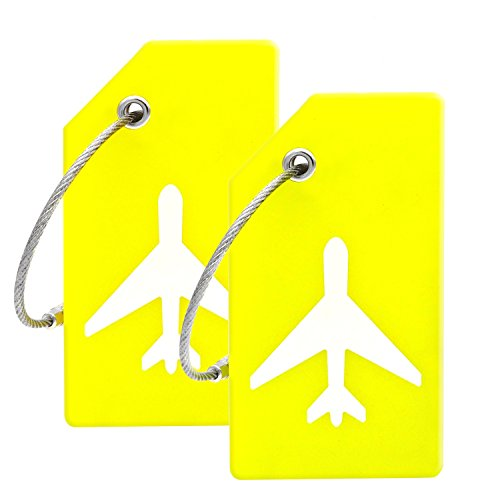 (Silicone Luggage Tag With Name ID Card Perfect to Quickly Spot Luggage Suitcase (Yellow))