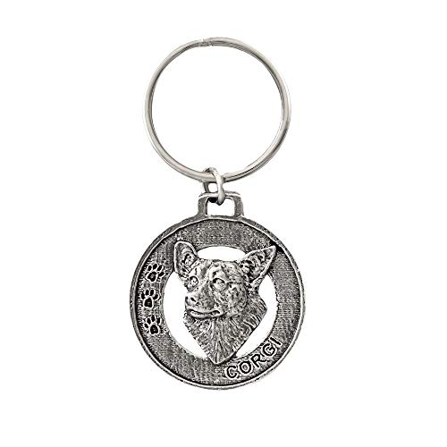 Corgi Dog Pewter Key Chain, Key Fob, Key Ring, Gift, D062KC