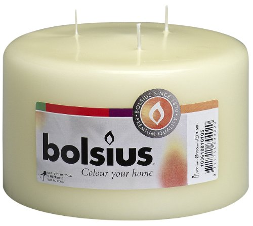 BOLSIUS Candles - 3 Wick Ivory Candles - Approx 4X6 inch Inches Relight Party Candles - Unscented Candles - Ivory Pillar Candles - Long Burning - Unscented Pillar