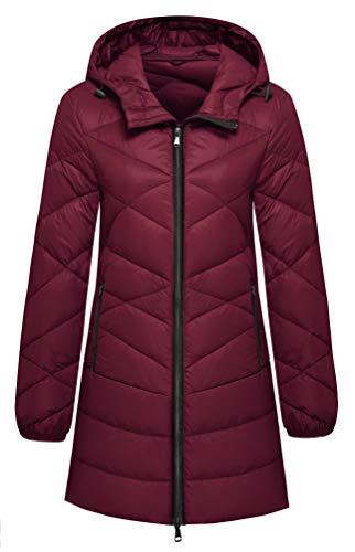 - Wantdo Women's Outdoor Packable Warm Light Weight Down Jacket Wine Red S