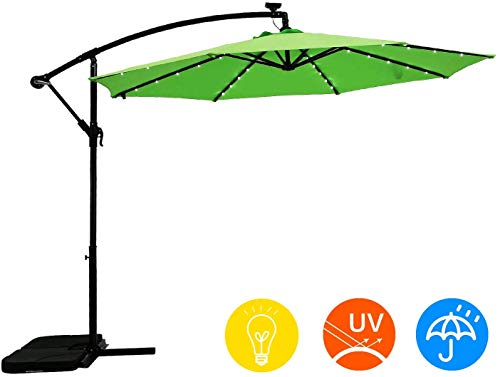AI-LIN 10Ft Led Lighted Hanging Offset Umbrella Outdoor Cantilever Market Umbrella with Crank, 8 Ribs (Light Green)