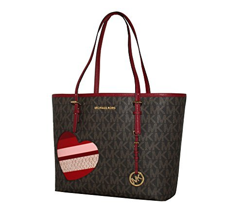 MICHAEL Michael Kors Women's HEARTS Jet Set Travel MEDIUM Leather Carry All Tote Handbag (Brown/cherry)