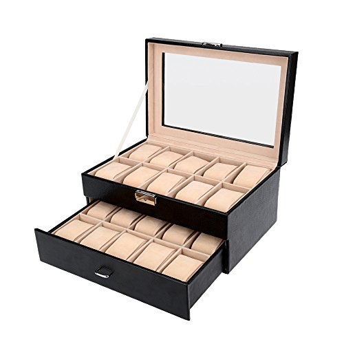 Abody Abschließbare Uhrenkasten Uhrenbox mit 2 Schichten und Glasdeckel für 20 Uhren WLS867