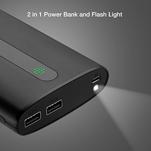 Aibocn electric power Bank 20000mAh lightweight Charger External Battery two times USB Ports by wil of  Flashlight for iPhone iPadSamsung Galaxy Smartphones Tablet and additional Black External Battery Packs