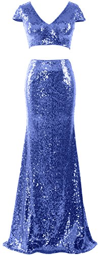 MACloth Women Mermaid Two Piece Cap Sleeves Maxi Prom Dress Sequin Formal Gown Azul