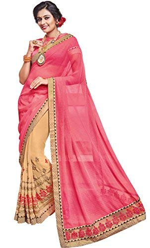 EthnicJunction Women's Party Wear Half Sarees For Wedding With Blouse Free Size Pink by EthnicJunction