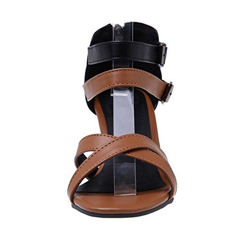 TAOFFEN Women Summer Ankle Strap Sandals Shoes Brown zYvIkoXzHU
