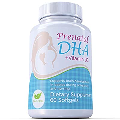 Prenatal DHA with Vitamin D3, 60 softgels, Easy to Swallow, Super Purified from Maternal Balance