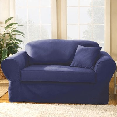 Bundle-17 Twill Supreme Separate Seat Sofa Slipcover (Set of 2) Color: Sapphire