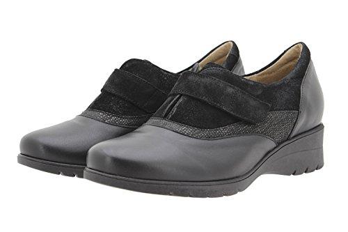 PieSanto Komfort Damenlederschuh 9956 Casual Schuhe Bequem Breit Negro